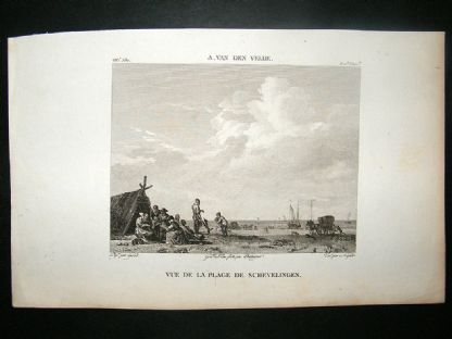 After A. Van Den Velde C1810 Antique Print. Vue de La Plage Schevelingen | Albion Prints